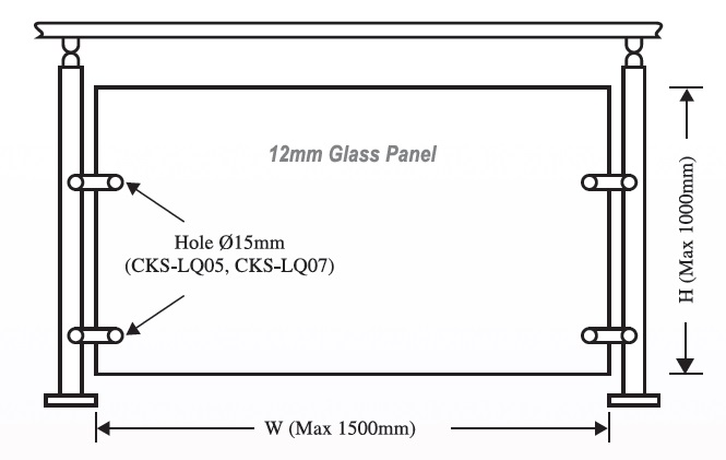 Structural Glass Panel Dimensions : Cks glass hardware lq handrail fitting