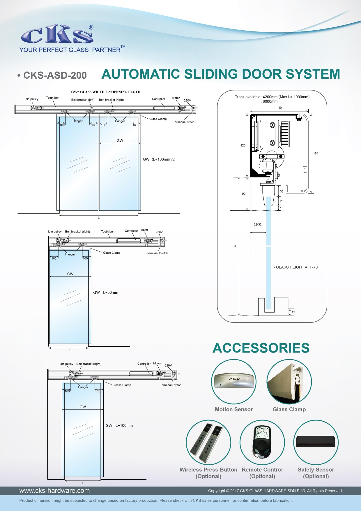 Cks Glass Hardware Automatic Sliding Door System