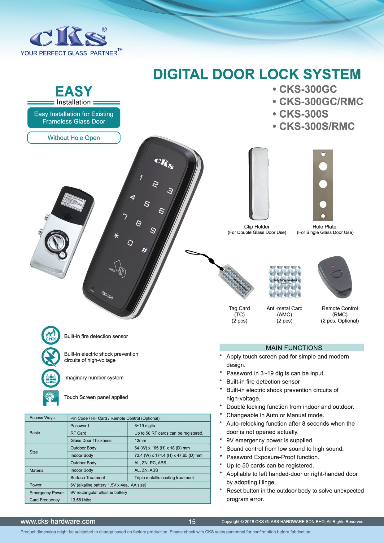 Cks Glass Hardware Digital Door Lock System Visitor Counter 300s Rmc 3 Ways With Remote Control Alum Frame Timber Thickness 35 50mm